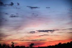 Zonsondergangmeningen over Oost-Texas Royalty-vrije Stock Afbeelding