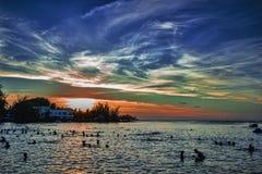 Zonsondergangpanorama bij Pereybere-Strand - Mauritius royalty-vrije stock fotografie
