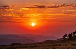 Zonsondergangpanorama van Semien-bergen, Ethiopi? royalty-vrije stock fotografie