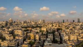 Zonsondergangpanorama van Tel Aviv stock videobeelden