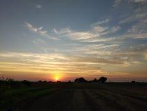 Zonsondergangpunt bij landbouwbedrijf en gouden zon lichte mening stock foto's