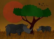 Zonsondergangscène bij de safari van Afrika van gerecycleerd document wordt gemaakt dat Stock Fotografie