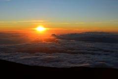 Zonsondergangscène van Haleakala-vulkaan, Maui, Hawaï Royalty-vrije Stock Afbeeldingen