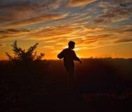 Zonsondergangsilhouet stock foto