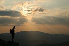 Zonsondergangsilhouet Stock Afbeelding