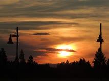 Zonsondergangsilhouet Stock Afbeeldingen
