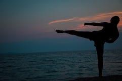 Zonsondergangsilhouet van mens het praktizeren vechtsporten Royalty-vrije Stock Foto's