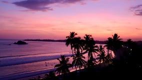 Zonsondergangstrand in zuiden van Sri Lanka Hambantota is een mooie stad in Sri Lanka royalty-vrije stock foto