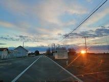 Zonsondergangweg stock foto's