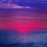 Zonsondergangzonsopgang over Middellandse Zee Stock Fotografie