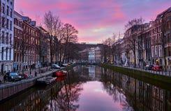 Zonsopgang in Amsterdam, Nederland royalty-vrije stock fotografie
