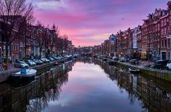 Zonsopgang in Amsterdam, Nederland stock afbeelding