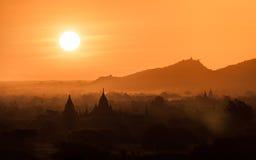 Zonsopgang in Bagan, Myanmar Royalty-vrije Stock Fotografie