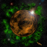Zonsopgang behin een planeet stock illustratie