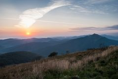 Zonsopgang in Bieszczady Royalty-vrije Stock Afbeelding