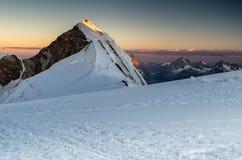 Zonsopgang bij Alpen Lyskamm, Monte rosa royalty-vrije stock afbeeldingen