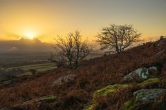 Zonsopgang bij Caradon-Heuvel, Cornwall stock afbeelding