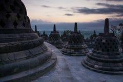 Zonsopgang bij de Boeddhistische Tempel van Borobudur, Java Island, Indonesië stock foto