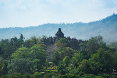 Zonsopgang bij de Boeddhistische Tempel van Borobudur, Java Island, Indonesië royalty-vrije stock foto's