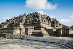 Zonsopgang bij de Boeddhistische Tempel van Borobudur, Java Island, Indonesië stock foto's