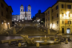 Zonsopgang bij de Spaanse Stappen in Rome Royalty-vrije Stock Afbeelding