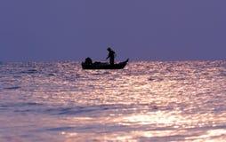 Zonsopgang bij de visserij van dorp Royalty-vrije Stock Foto