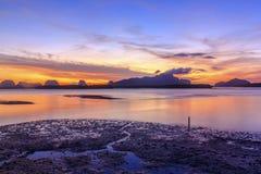 Zonsopgang bij de visserij van dorp samchong-Tai Royalty-vrije Stock Foto's