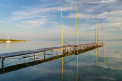 Zonsopgang bij de zomermeer Balaton Stock Foto