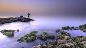Zonsopgang bij het strand Royalty-vrije Stock Afbeeldingen