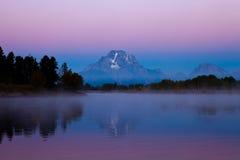 Zonsopgang bij oxbowkromming Grand Teton Stock Fotografie
