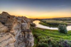 Zonsopgang bij schrijven-op-Stenen Provinciaal Park in Alberta, Canada royalty-vrije stock afbeeldingen