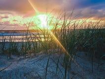 Zonsopgang bij strand stock fotografie