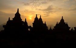 Zonsopgang bij Tempel Borobudur. Stock Afbeeldingen