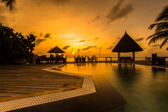 Zonsopgang bij Vier Seizoenentoevlucht de Maldiven in Kuda Huraa Royalty-vrije Stock Foto