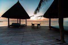 Zonsopgang bij Vier Seizoenentoevlucht de Maldiven in Kuda Huraa Royalty-vrije Stock Foto's
