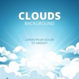 Zonsopgang in blauwe hemel met wolken vectorachtergrond Royalty-vrije Stock Afbeelding