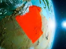 Zonsopgang boven Algerije op aarde Stock Foto's