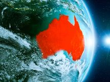 Zonsopgang boven Australië op aarde Stock Fotografie