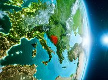 Zonsopgang boven Bosnië-Herzegovina op aarde Royalty-vrije Stock Afbeeldingen