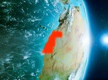 Zonsopgang boven de Westelijke Sahara op aarde Stock Foto's
