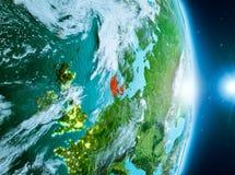 Zonsopgang boven Denemarken op aarde Royalty-vrije Stock Foto