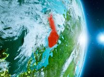 Zonsopgang boven Finland op aarde Stock Fotografie