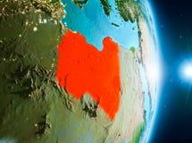 Zonsopgang boven Libië op aarde Royalty-vrije Stock Afbeelding