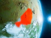 Zonsopgang boven Niger op aarde Stock Foto