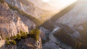 Zonsopgang Cliff Canyon Rheinschlucht Switzerland Aerial 4k stock videobeelden