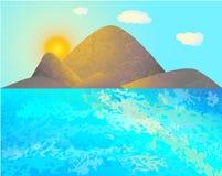 Zonsopgang in de bergen op het strand Stock Afbeelding