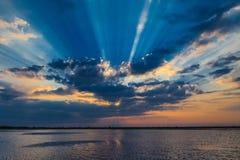 Zonsopgang in de Delta van Donau Stock Fotografie