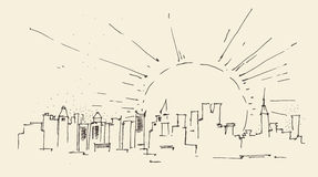 Zonsopgang in de stadsarchitectuur van New York, wijnoogst gegraveerde illustratie, getrokken hand Stock Fotografie