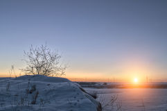 Zonsopgang in de winter Royalty-vrije Stock Foto's