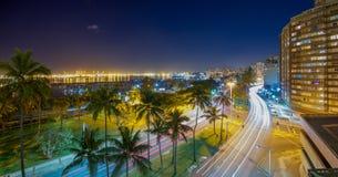Zonsopgang dichtbij haven van Durban stock fotografie